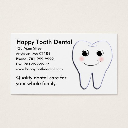 KRW Custom Happy Tooth Dental Appointment Business Card