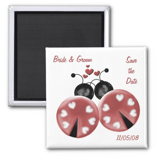 KRW Custom Love Bugs Save the Date Wedding Square Magnet