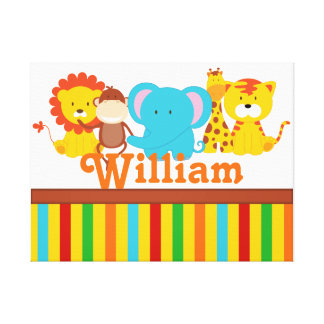 KRW Custom Name Baby Safari - Jungle Nursery Print Stretched Canvas Print