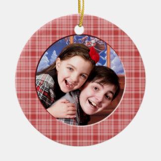 KRW Custom Red Plaid Christmas Photo Ornament