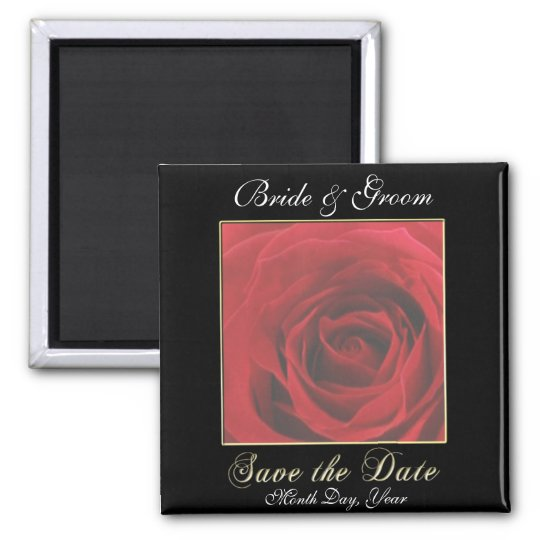 KRW Custom Red Rose Save the Date Wedding Magnet