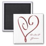 KRW Custom Stylised Red Heart Wedding Favour Fridge Magnet