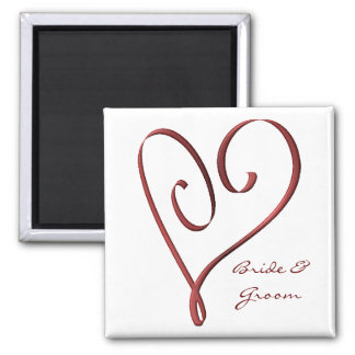 KRW Custom Stylized Red Heart Wedding Favor Square Magnet