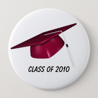 KRW Custom Text Red Graduation Cap 10 Cm Round Badge