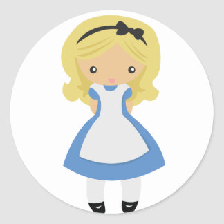 KRW Cute Alice in Wonderland Classic Round Sticker
