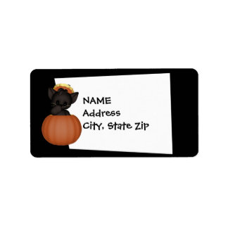 KRW Cute Black Cat Custom Halloween Label Address Label