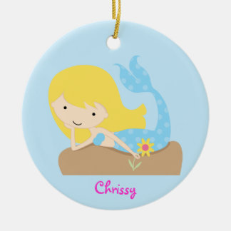 KRW Cute Blue Mermaid Custom Ornament