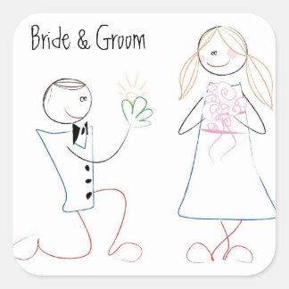 KRW Cute Bride and Groom Stick Figure Square Square Sticker