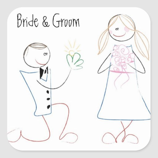 KRW Cute Bride and Groom Stick Figure Square Square Stickers
