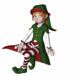 KRW Cute Little Elf Holiday Ornament Photo Sculpture Decoration