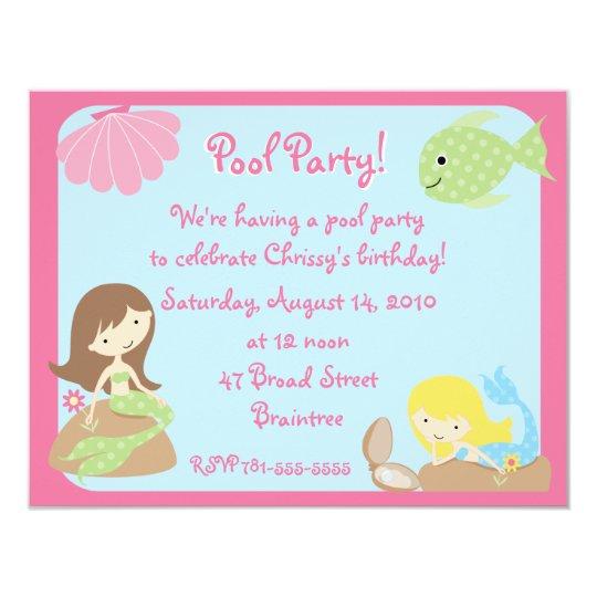 KRW Cute Mermaid Pool Party Invitations