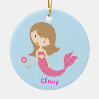 KRW Cute Pink Mermaid Custom Ornament