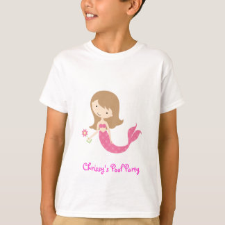 KRW Cute Pink Mermaid Pool Party Kid's T-Shirt