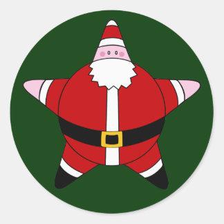 KRW Cute Star Santa Claus Christmas Classic Round Sticker