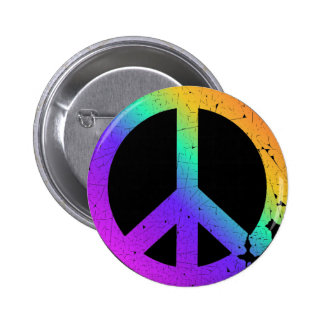 KRW Distressed Rainbow Peace Sign 6 Cm Round Badge