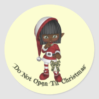 KRW Do Not Open Til Christmas Seal Round Sticker
