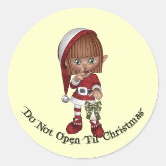 KRW Do Not Open Til Christmas Seal Round Sticker