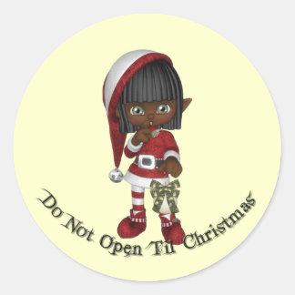 KRW Do Not Open Til Christmas Seal Classic Round Sticker