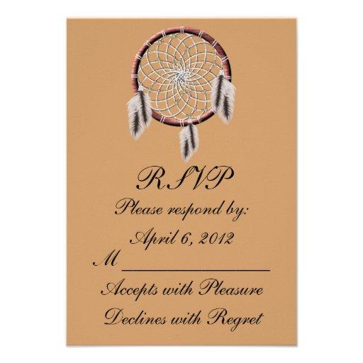 Native American Wedding Invitations: KRW Dreamcatcher Native American Wedding RSVP 3.5x5 Paper