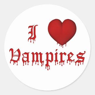 KRW Dripping Blood I Love Vampires Round Sticker
