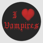 KRW Dripping Blood I Love Vampires Round Stickers