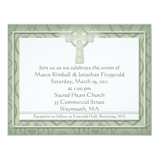 KRW Elegant Celtic Cross Irish Wedding Card