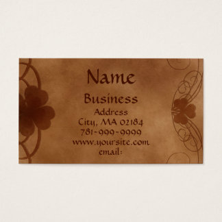 KRW Elegant Celtic Shamrock Parchment Custom Business Card