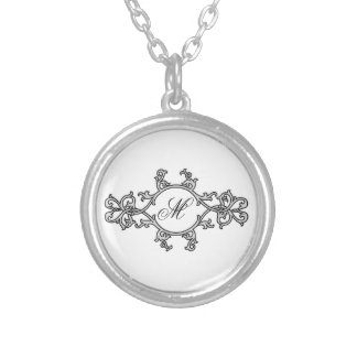 KRW Elegant Monogram Scroll Design Necklace