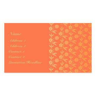 KRW Elegant Orange Floral Custom Business Card