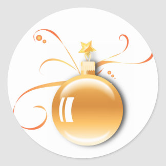 KRW Elegant Season's Greetings Gold Ornament Classic Round Sticker