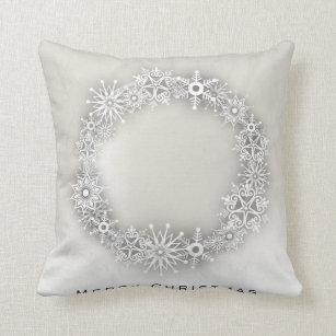 Silver Snowflake Decorative Throw Cushions Zazzle Uk