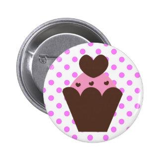 KRW Fancy Chocolate Heart Cupcake 6 Cm Round Badge