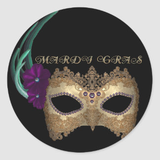 KRW Fancy Mardi Gras Mask Round Sticker