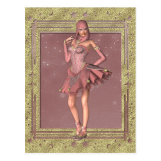 KRW Fantasy Jester in Pink and Gold Postcard
