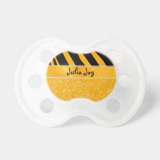 KRW Faux Orange Glitter and Tiger Custom Name Pacifiers