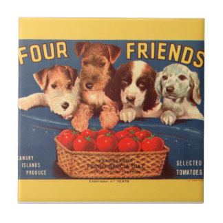 KRW Four Friends Vintage Tomato Crate Label Ceramic Tiles
