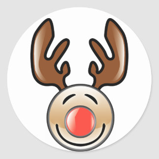 KRW Fun Icon Style Reindeer Holiday Classic Round Sticker