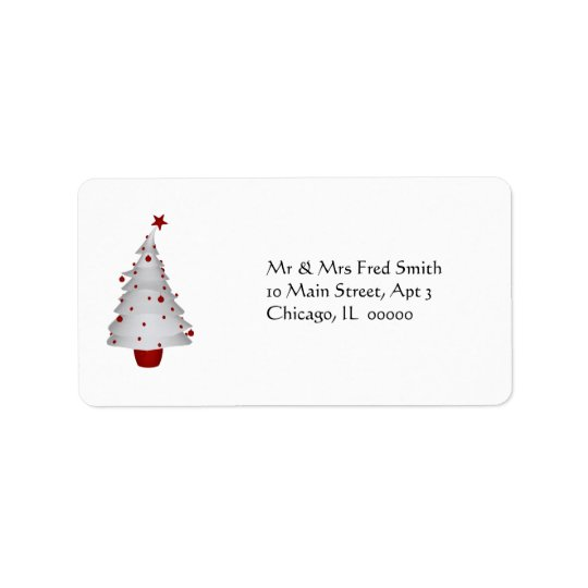KRW Fun Little Xmas Tree Holiday Address Label