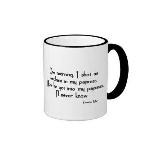 KRW Funny Elephant in Pajamas Groucho Marx Quote Mugs