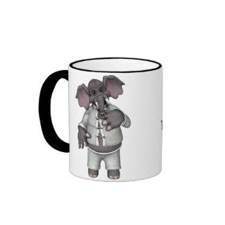 KRW Funny Elephant in Pajamas Groucho Marx Quote Ringer Mug