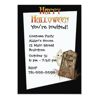 KRW Ghost Tombstone Custom Halloween Invitation