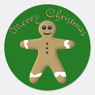 KRW Gingerbread Man Merry Christmas Seals Classic Round Sticker