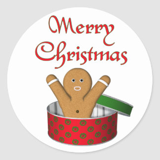 KRW Gingerbread Surprise Christmas Round Sticker