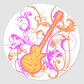 KRW Girl's Rock Guitar Grunge Classic Round Sticker