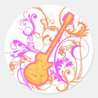 KRW Girl's Rock Guitar Grunge Round Sticker