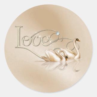 KRW Graceful Swans Love Wedding Seals Round Sticker