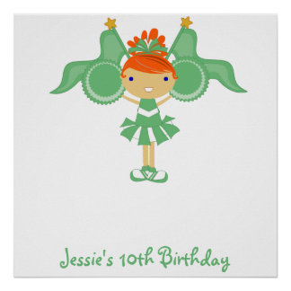 KRW Green Cheerleader Birthday Autograph Poster