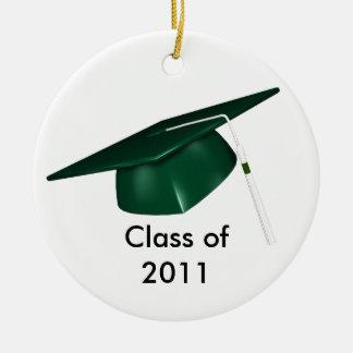 KRW Green Graduation Cap Custom Date Ornament