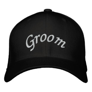 KRW Groom Script Black and White Embroidered Hat