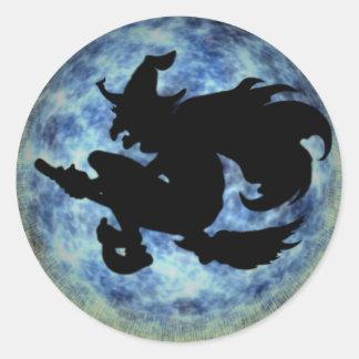 KRW Halloween Moon Witch Shadow Round Sticker